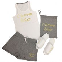 Custom Printed Vest Top & Shorts Pyjamas Set - Personalised Sleep Over Party PJs